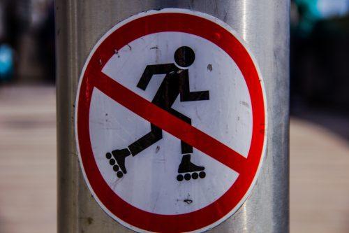 no roller skating